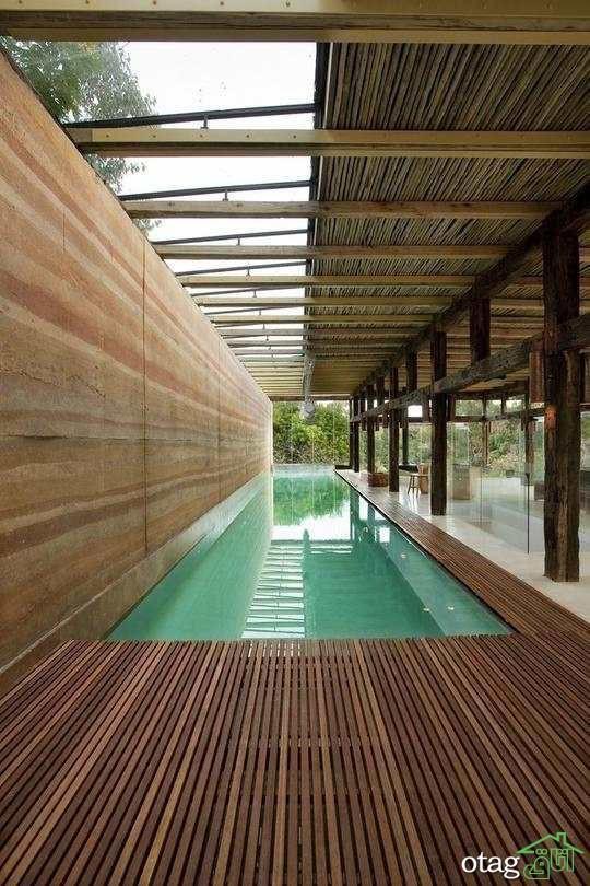 مدل های طراحی استخر ویلا به شکل مستطیلی در حیاط و فضای باز